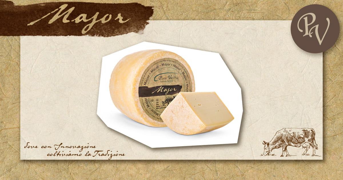 Impaginazione grafica presentazione formaggio Major